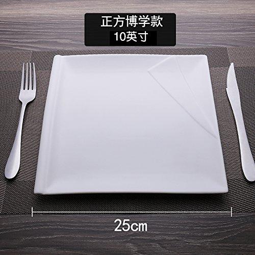 MLGG La Plaque Carrée Plaque Blanche Pure De Vaisselle en Céramique, 10 Cm, C
