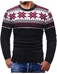 JiaMeng Suéter de Punto Top Impreso de Navidad suéter Outwear Blusa de Manga Larga para Hombre