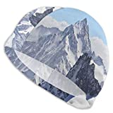 GUUi Swimming Cap Elastic Swimming Hat Diving Caps,Snowy Rocky Mountain Peaks Tops Scene High Lands ICY Frozen Swiss Outdoor Art,for Men Women Youths