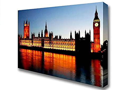 Cityscape Reflections Of London Houses Of Parliament Night Lights Canvas Art Prints - Extra Large 32 x 48 inches