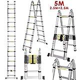 Edited Teleskopleiter Mehrzweck Aluminiumlegierung Teleskop Styl Klappbar Verlängerung Auszugsleiter, Teleskop-Design 150 kg Belastbarkeit (2 x 2.5 Meter (Total 5 Meter))