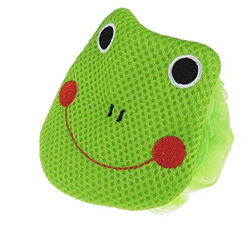 Badeschwamm mit Tiergesicht, Luffaschwamm für Jungen und Mädchen Gr. One Size, Grüner Frosch (Waschlappen Safari)