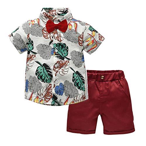 y Boy Bekleidung Kurzarm Fliege Gentleman Leaf T-Shirt Tops + Shorts Outfits,Jungen Kinder Sommer Kleidung Set Mode Kurze Und Hosen (Beige,110) ()