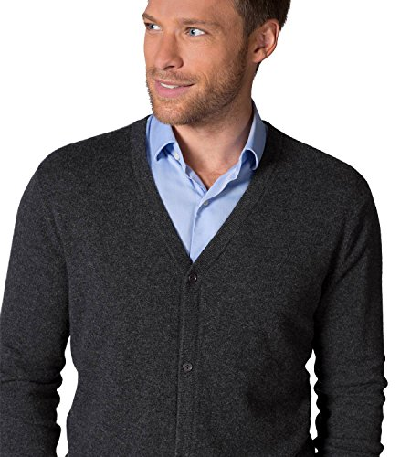 WoolOvers Cardigan à col V - Homme - Pur cachemire Anthracite