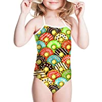 POLERO Girls One Piece Swimsuit Beachwear Swimwear Summer Soft Kids Essential Endurance Cute Bathing SuitM(5-6years old)Donut-1