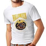 lepni.me Camisetas Hombre Calabaza de Halloween - Ideas del Traje del Partido 2017 (Large Blanco