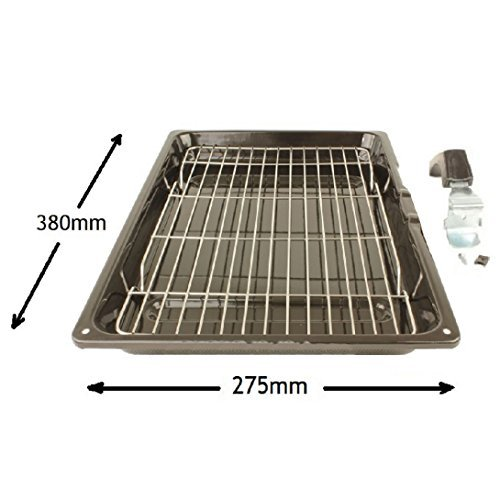 Large Vitreous Enamel Oven Cooker Grill Pan with Detachable Safety Handle