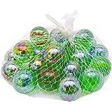 Odishabazaar 25 Pcs Colorful Decoration Shooter Marbles Boulder Glass Swirl Assortment Game