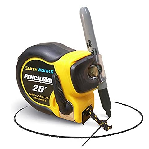 PENCILMAN Marking Tape Measure - Holds any pencil or marker to 5/8 diameter - Arcs and Circles, Single handed marking, Edge slide marking, End to End marking, Transfer measurements, and more. - by Smith Works