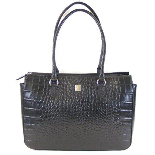 Pavini Damen Tasche Shopper Croco Leder schwarz 12501 Laptopfach Handyfach