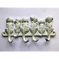 Dog Design White Cast Iron Metal Coat Hooks Lead Collar Rack