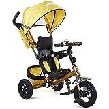 Fascol 4 in 1 Trike bicicleta Triciclo para niños de 8 - 60 meses, plegable, max 50 kg, color Oro