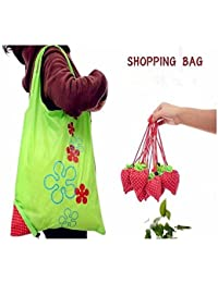 Rural Mart Strawberry Folding Shopping Bag Eco-Friendly Storage Outdoor Bag Set Of 2