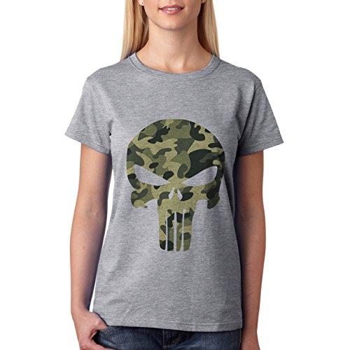 Army Punisher Skull-Maglietta da donna grigio XXL