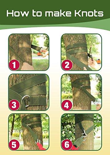 Gearmax® Aufhängeset Befestigungsset für Hängematten an Bäumen Outdoor Garden Hammock Tree Straps + max. 300 KG (Dunkelgrün) - 4