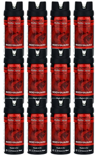 GYD Firmenpack 12x Bodyguard 40ml. Orginal K.O. Pfefferspray für die Selbstverteidigung gegen Aggresive Angriffe