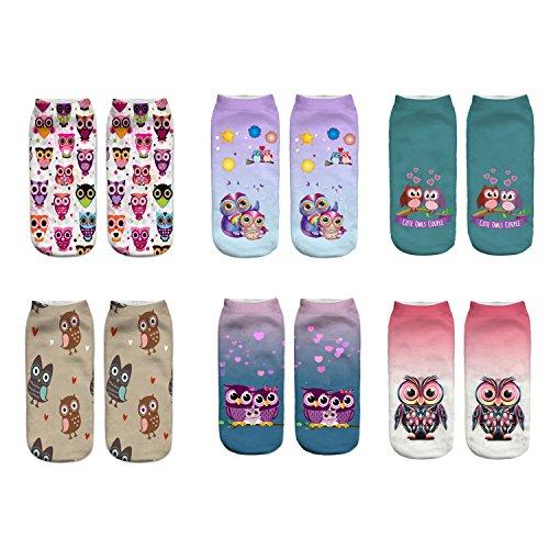 LegendsChan Eule Katze Ausländer Tier Damen Mädchen Cartoon Einhorn Socken Weich Elastisch Sport Socken Strümpfe Füßlinge Bunt Motiv (6 pair-A)