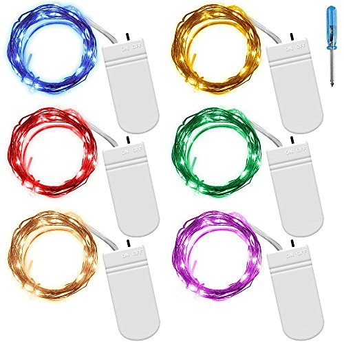 [6 Stück-6 Farben] Fairy String Lichter Vpsan 6.6ft 20 Leds Draht batteriebetriebene Fairy Seil Licht für Dekoration (1 2-zoll-seil-licht)