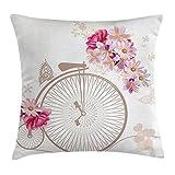 Vintage Decor Werfen Kissenbezug, Fahrrad mit Korb voller Blumen Gänseblümchen Rose Brautschmuck Hochzeit Rollen Bild, dekorative quadratisch Accent Kissen Fall, beige pink