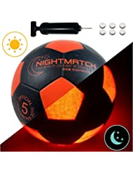 NIGHTMATCH Light Up Football INCL. BALL PUMP and SPARE BATTERIES - Inside LED lights up when kicked - Glow in the Dark Soccer Ball - Size 5 - Official Size & Weight - Top Quality - black/orange