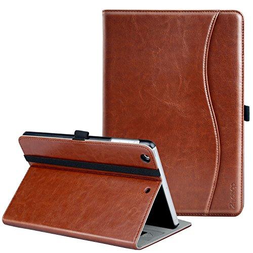 Ztotop iPad Mini Hülle, Premium Kunstleder Business dünn Leichte Ständer smart Case Cover für Apple iPad Mini 3/Mini 2/Mini 1,mit Auto Schlaf/Wach Funktion und Steckplatz,Mehrfachwinkel,Braun