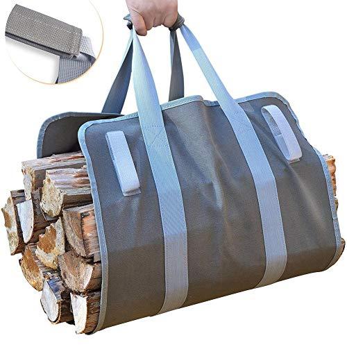 SparY Kaminholztragetasche, strapazierfähig, Canvas, Kaminholz-Tasche, für Camping, Wandern, Grillen im Freien (Tasche Canvas Camping)