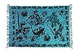 Ca 60 Modelle Sarong Pareo Wickelrock Strandtuch Tuch Wickeltuch Handtuch Bunte Sommer Muster Set Gratis Schnalle Schließe, Türkis Blau, 170 cm x 110 cm