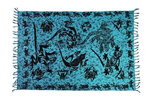 Ca 60 Modelle Sarong Pareo Wickelrock Strandtuch Tuch Wickeltuch Handtuch Bunte Sommer Muster Set Gratis Schnalle Schließe, Türkis Blau, 170 cm x 110 cm (Pareo Sarong Damen Muster)
