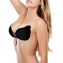 Soutien-gorge Push-up, Soutien-gorge sans Bretelles Sexy V Profond Dos Nu avec Cordon Réutilisable Invisible Bra Silicone