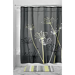InterDesign 37225EU Rideau de Douche Thistle Polyester Gris/Jaune 180 x 180 cm