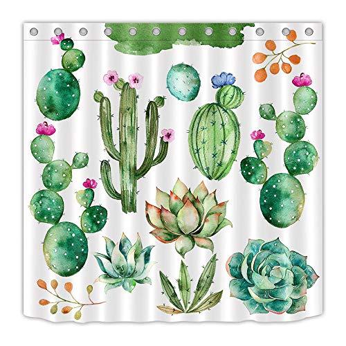LB Aquarell grüne Pflanze Kaktus Duschvorhang für Badezimmer Wohnaccessoire 150 Breite x 180 Höhe cm