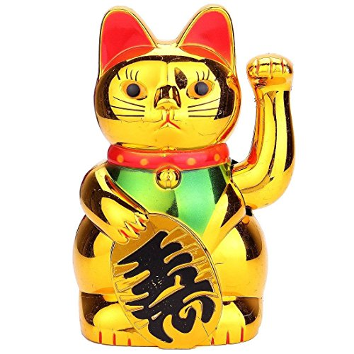 Lucky Cat - TOOGOO(R)Chat Chinois Porte-bonheur a Bras Mobile Lucky Cat