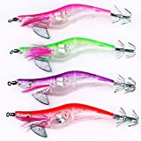 Fishing Lure - SODIAL(R)Pack for 4 10.5cm Shrimp Flashing LED Light Squid Jig Fishing Lure Prawn Tackle Hook