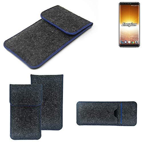 K-S-Trade® Filz Schutz Hülle Für -Energizer P600S- Schutzhülle Filztasche Pouch Tasche Case Sleeve Handyhülle Filzhülle Dunkelgrau, Blauer Rand Rand