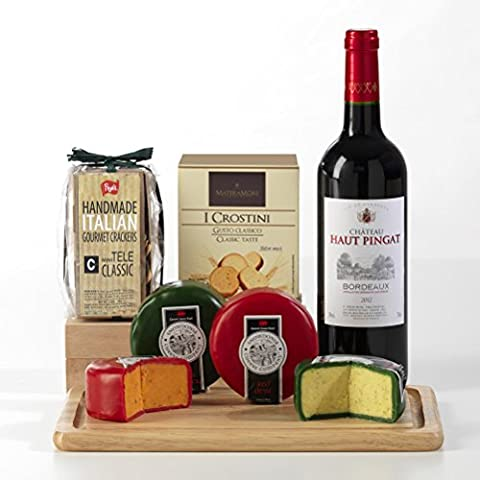 Bordeaux Red Wine, Crackers and Cheeses with Cheeseboard Gift Set - FREE UK Delivery