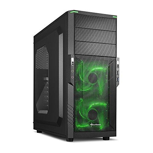 Sharkoon T3-W PC-Gehäuse (Schnellverschlüsse, 2x 120-mm-LED-Lüfter vorinstalliert, USB 3.0) grün -