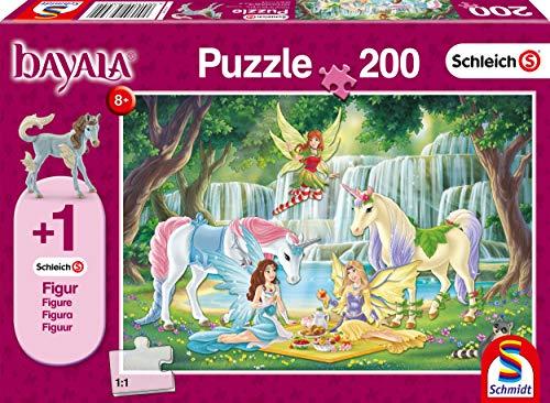 Schmidt Spiele Puzzle 56304Schleich–bayala, Picnic de Hadas, 200Piezas Niño Rompecabezas, Figura eyelas König Potro