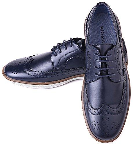 Mio Marino Herren Freizeitschuhe - Wingtip Brogue Business Fashion Oxford Schuhe für Herren, Blau (Wingtip Claviko Collection - Navy), 44 EU Wingtip Oxford