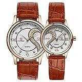 Saint-Valentin romantique Paire Lui et le sien poignet montres pour couple homme femme ultra fin cuir Jeu de 2 - Or