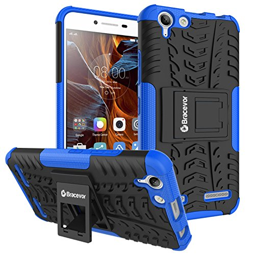 Bracevor Shockproof Lenovo vibe k5, K5 Plus Hybrid Kickstand Back Case Defender Cover - Blue