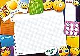 Lustige DIN A3 Schreibtischunterlage - Emoji und Smiley als Motiv in bunt / als Schreibunterlage für Kinder, Jungs und Mädchen / Din A3 ca. 30 x 42 cm groß / Block mit 25 Blatt Papier zum Abreißen