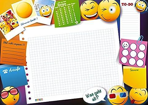 Lustige Schreibtischunterlage Emojis Smileys mit 25 Blatt zum abreißen DIN A3 für Jungs Mädchen Kinder To-Do Notizen Anrufe Papier Schreibunterlage Wochenplan zum ausmalen für zu Hause oder fürs