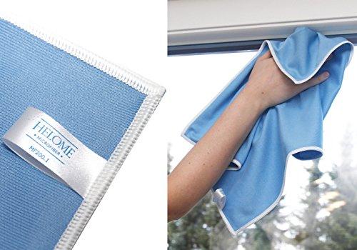 Microfaser Glastuch (10x) für Nass- und Trockenreinigung von glatten Oberflächen | Fenstertuch für Glas, Scheiben, Spiegel für streifenfreie Oberflächen | Hohe Saugkraft