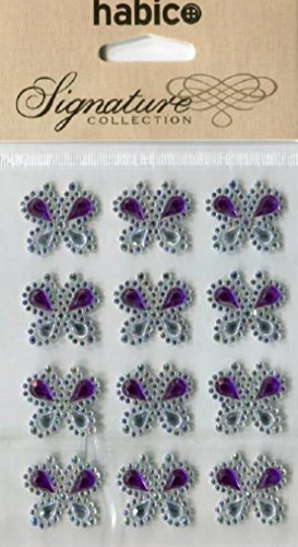 Stick On Self Adhesive Diamante Butterflies Purple - per pack of 12