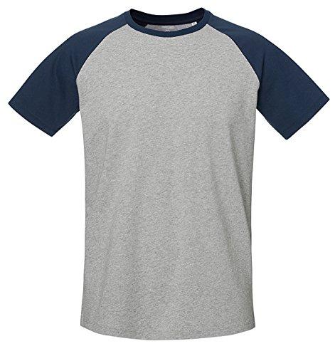 Baseball Unisex T-Shirt aus 100% Bio-Baumwolle, Nackenband und Ärmel in Kontrastfarbe, Bio Kurzarmshirt T-Shirt, Baseball Bio Shirt, Bio T-Shirt Rundhals- Heather Grey/Navy, L -