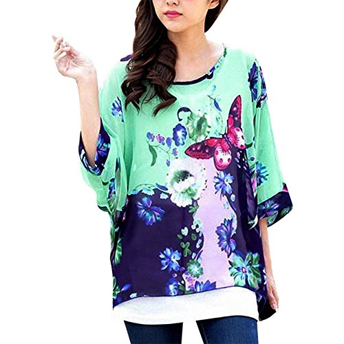 JLTPH Donne Tunica Shirt spiaggia delle del Batwing chiffon camicetta Hippie Shirt Top color31