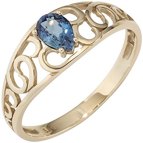JOBO Damen Ring 585 Gold Gelbgold 1 blauer Safir Goldring Größe 52