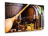 weewado Cantina con cucina tradizionale, il bicchiere di vino e bottiglie di vino - 45x30 cm - Belle stampe d'arte tela textile - arte della parete - Cooking & Mangiare