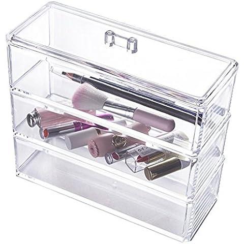 Choice Fun Acrilico Trasparente Organizzatore Trucco Cosmetico per Nail Brush Holder Rossetti Bagagli 3 Tiers