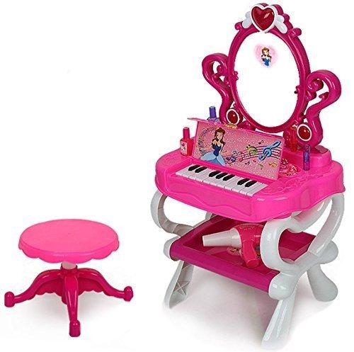 deAO Mesita Tocador Princesa Glamurosa con Espejo, Taburete, Secador de Pelo, Accesorios - Efectos de Luz y Sonido (Piano)